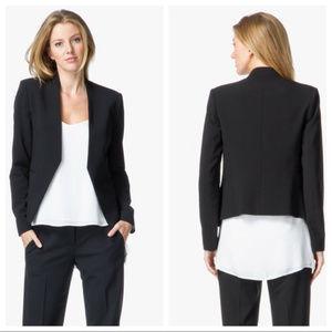Theory Lanai black wool stretch open blazer size 4